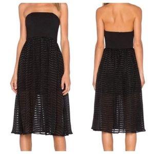 NBD Black Strapless Striped Dress Size S